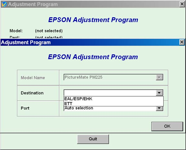 Epson <b>PictureMate PM225</b> Service Adjustment Program <font color=red>New!</font>
