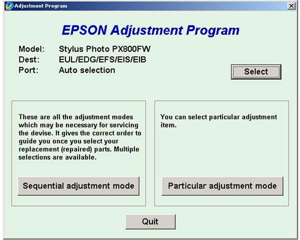 Epson PX800FW Service Adjustment Program - Service Manuals