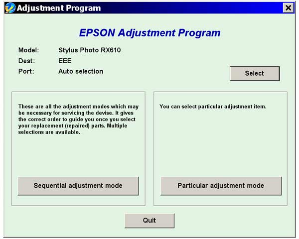 Epson <b>RX610</b> Service Adjustment Program