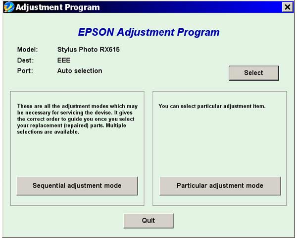 Epson <b>RX615</b> Service Adjustment Program