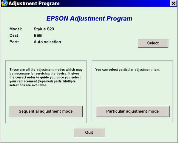 Epson <b>S20</b> Service Adjustment Program