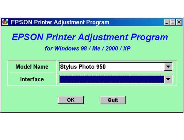 Stylus Photo 950 Printer Service Program