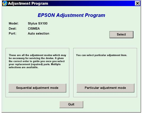 Epson <b>SX100, SX105</b> Service Adjustment Program