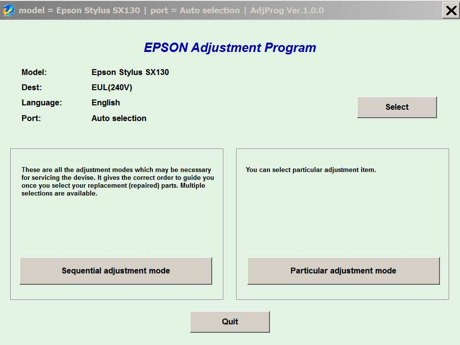 Epson <b>SX130</b> (EUL, EURO, CISMEA) Ver.1.0.0 Service Adjustment Program  <font color=red>New!</font>