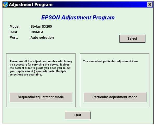 Epson <b>SX200</b> Service Adjustment Program