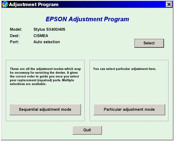 Epson <b>SX400</b> Service Adjustment Program