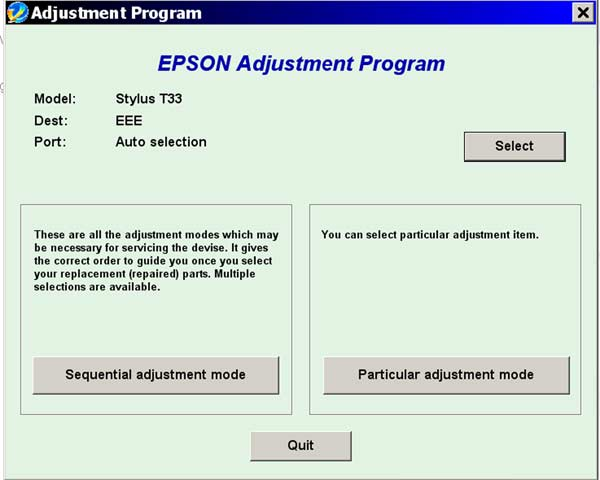 Epson <b>T30, T33</b> Service Adjustment Program <font color=red>New!</font>