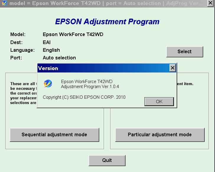 Epson <b>T42WD</b> (EAI) Ver.1.0.4 Service Adjustment Program  <font color=red>New!</font>