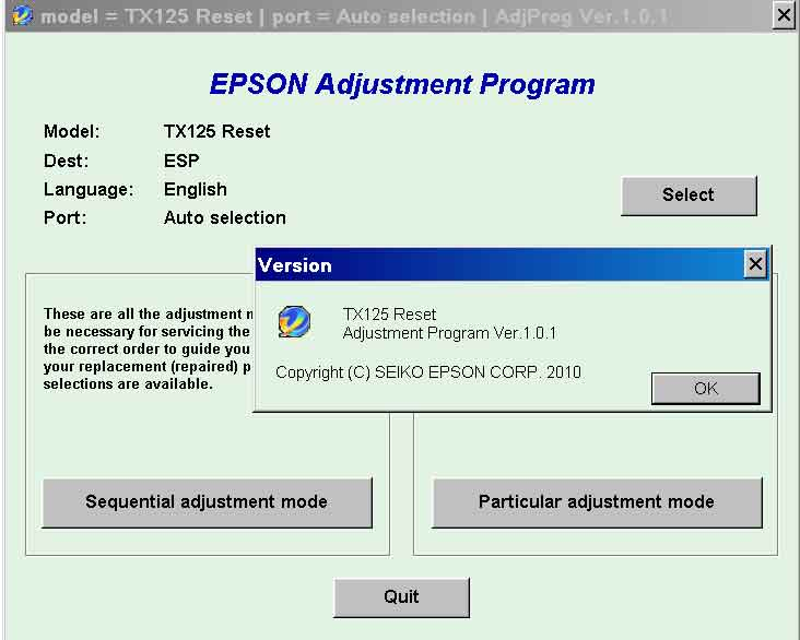 Epson <b>TX125</b> (ESP) Ver.1.0.1 Service Adjustment Program  <font color=red>New!</font>