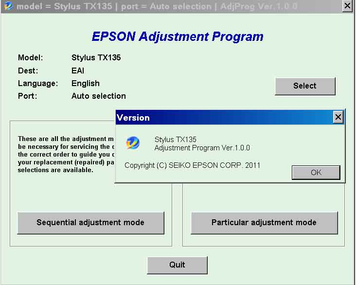 Epson <b>TX135</b> (EAI) Ver.1.0.0 Service Adjustment Program  <font color=red>New!</font>