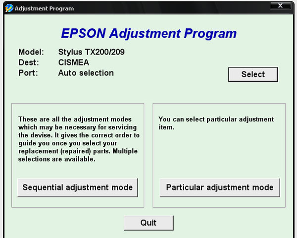 Epson <b>TX200, TX209</b> Service Adjustment Program <font color=red>New!</font>