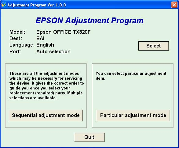 Epson <b>TX320</b> (EAI) Ver.1.0.0. Service Adjustment Program <font color=red>New!</font>