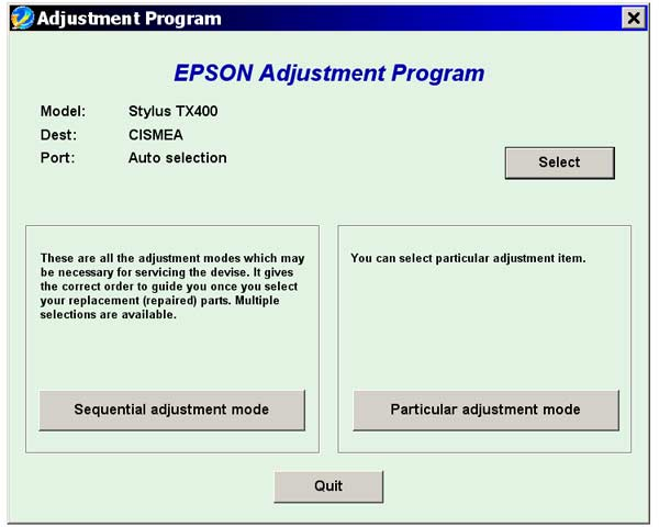 Epson <b>TX400, TX409</b> Service Adjustment Program <font color=red>New!</font>