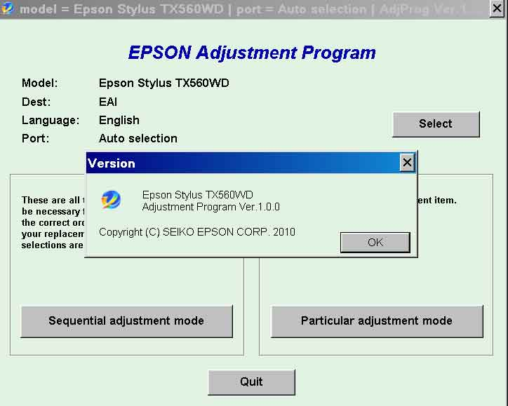 Epson <b>TX560WD</b> (EAI) Ver.1.0.0 Service Adjustment Program  <font color=red>New!</font>