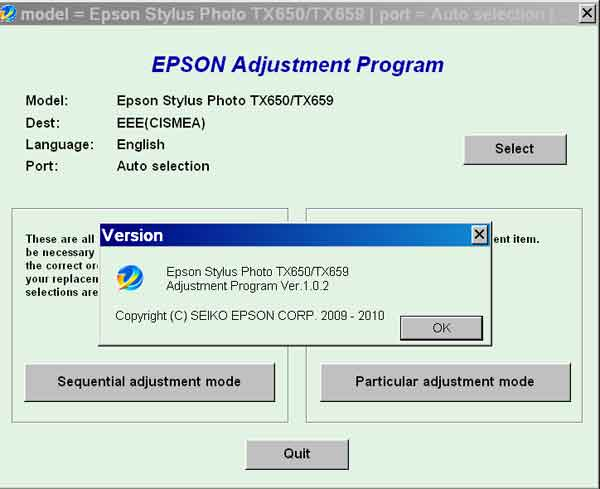 Epson <b>TX650, TX659</b> (EEE, CISMEA) Service Adjustment Program V1.0.2 <font color=red>New!</font>