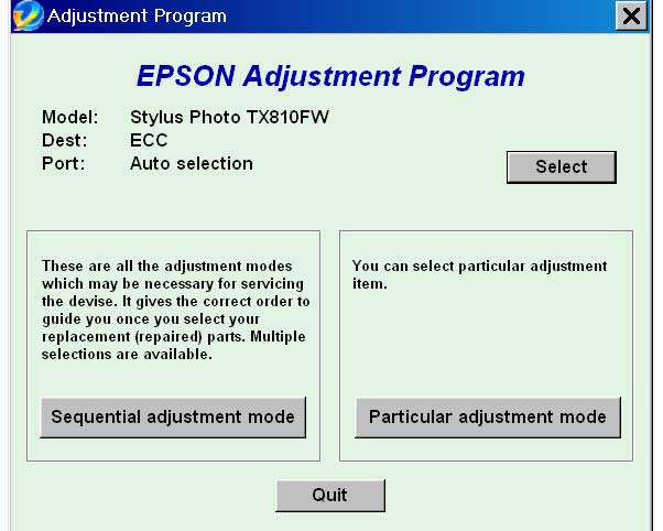 Epson <b>TX810FW</b> Service Adjustment Program (ECC) <font color=red>New!</font>