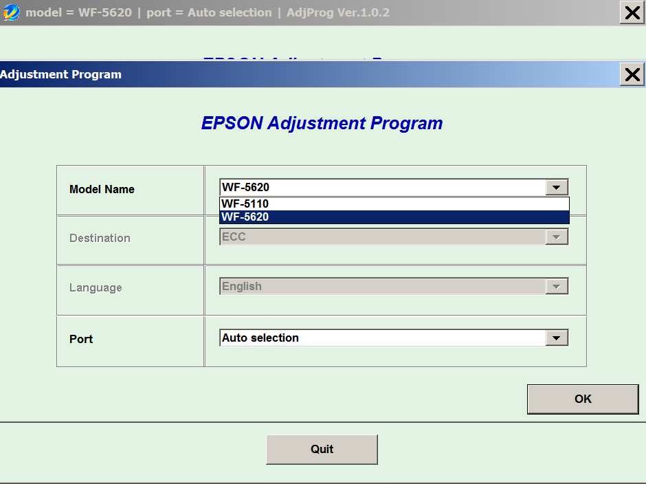 Epson <b>WorkForce WF-5110, WF-5620</b> (ECC) Ver.1.0.2 Service Program  <font color=red>New!</font>