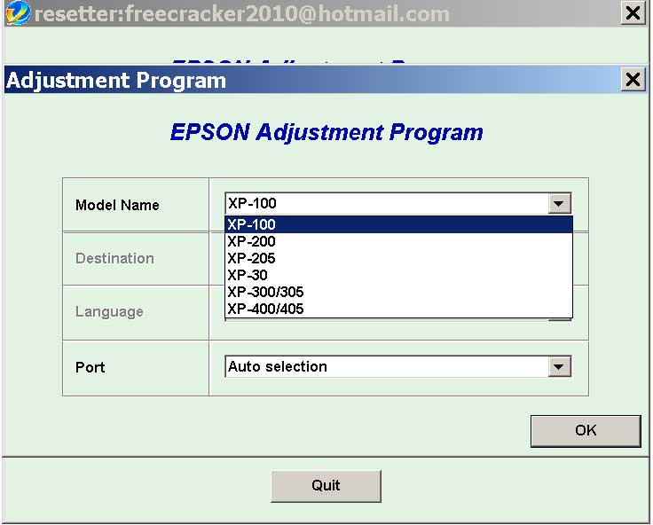 Epson <b>XP-30, XP-100, XP-200, XP-205, XP-300, XP-305, XP-400, XP-405 </b> (Euro, Belgium) Service Adjustment Program  <font color=red>New!</font>