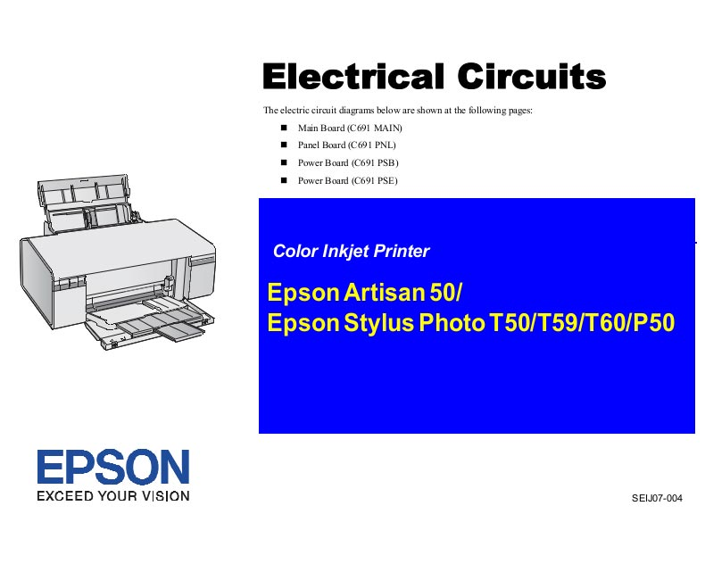 Epson T50, T59, T60, P50, Artisan 50 Electrical Circuit Diagram <font color=red>New!</font>