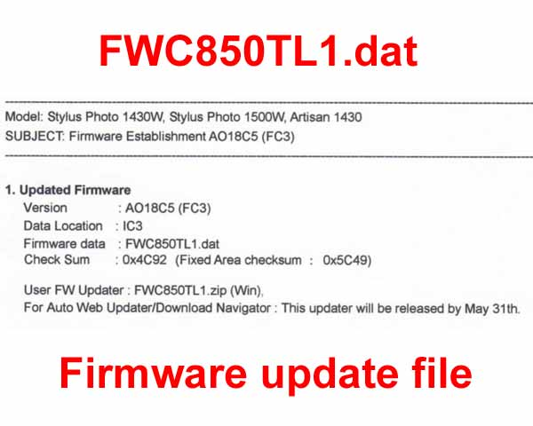 Epson FirmWare UPDATE FILES - for Epson Artisan 1430, Photo
