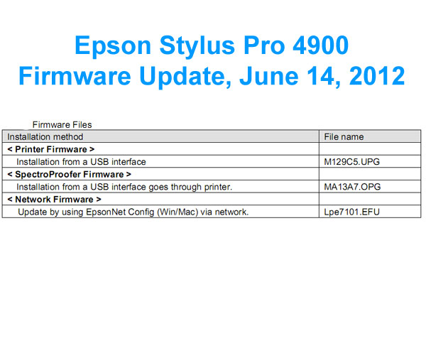 Epson FirmWare <b>UPDATE FILES</b> - for Epson Stylus Pro 4900 printer