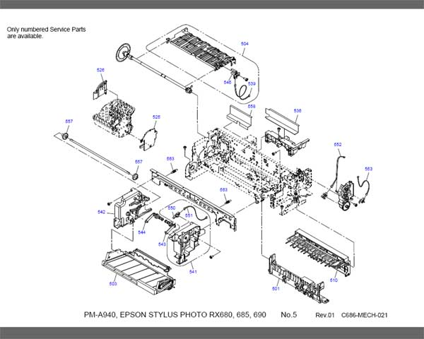 Epson RX680, RX685, RX690 Parts List <font color=red>New!</font>