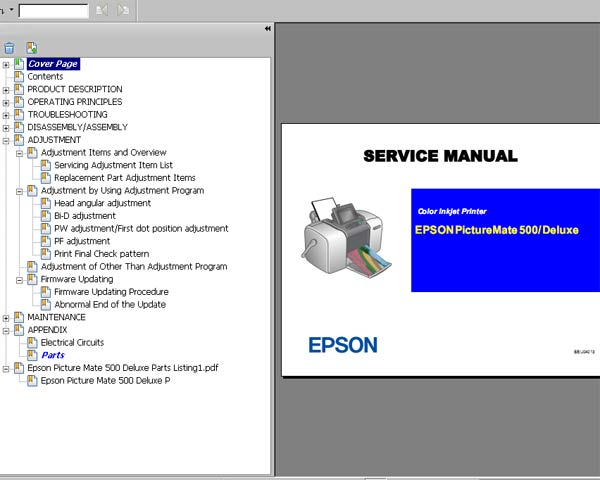 Epson PictureMate PM500, Deluxe printers Service Manual, Parts List, Exploded View, Electrical Circuits Diagrams