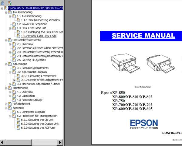 Epson <b>XP-600, XP-601, XP-605, XP-700, XP-701, XP-702, XP-750, XP-800, XP-801, XP-802, XP-850</b> printers Service Manual  <font color=red>New!</font>