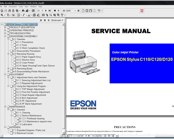 Epson C110, C120, D120 printers Service Manual and Parts List