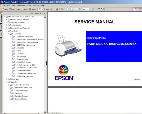 Epson C20, C40 printers Service Manual and Parts List