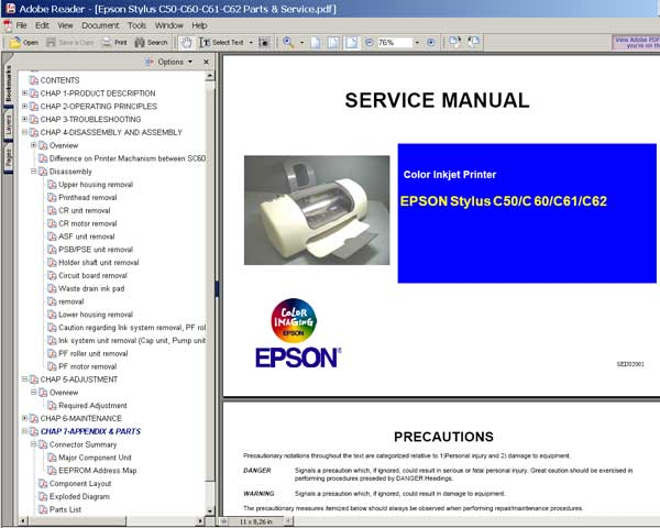 Epson C50, C60, C61, C62 printers Service Manual and Parts List