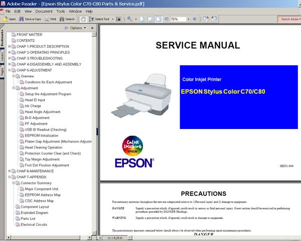 Epson C70, C80 printers Service Manual and Parts List