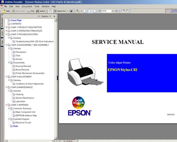 Epson C82 printer Service Manual and Parts List
