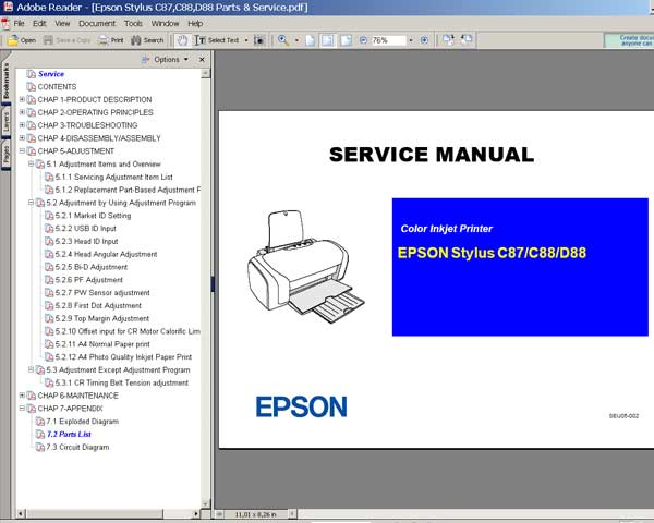 EPSON C87, C88, D88 printers Service Manual and Parts List