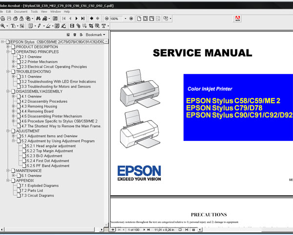 Epson C58, C59, ME 2, C79, D78, C90, C91, C92, D92 printers Service Manual and Parts List