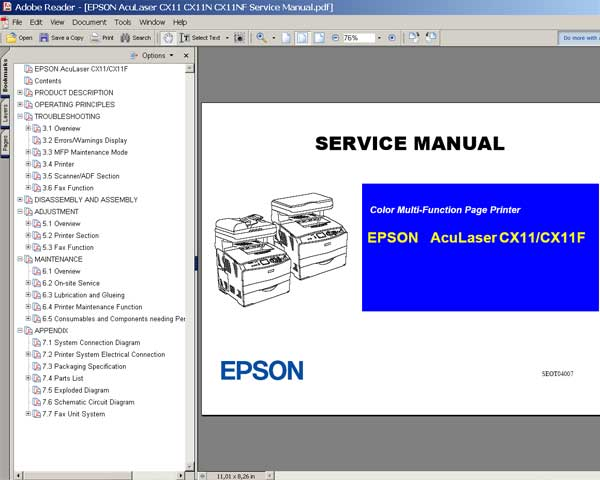 Epson AcuLaser CX11 Printer<br> Service Manual and Parts List
