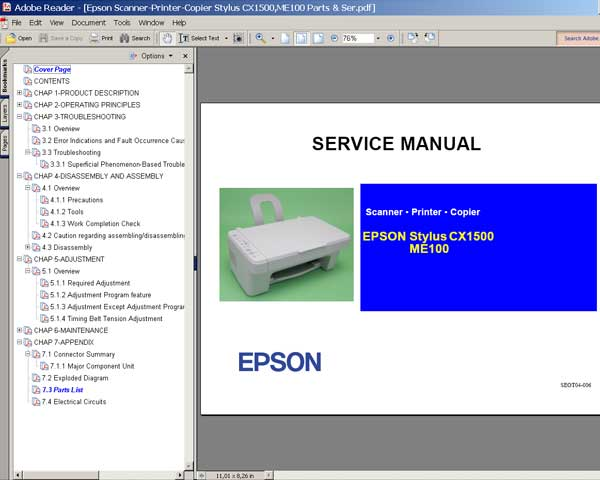 Epson CX1500, ME100 printers Service Manual and Parts List