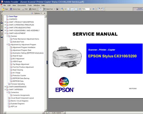 Epson CX3100, CX3200 Service Manual and Parts List