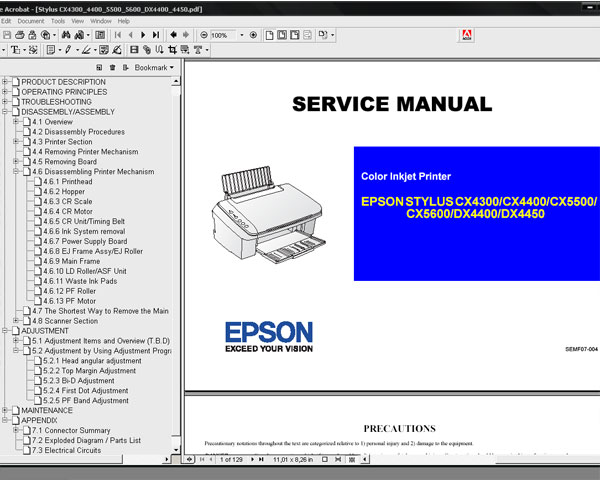 Epson DX4400 Adjustment Program + Service Manual and Parts List - <font color=red>SAVE $5!</font>