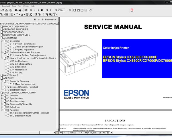 Epson CX5700, CX5800, CX6900F, CX7000F, DX7000F printers Service Manual and Parts List