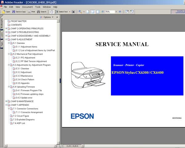 Epson CX6300, CX6400 Service Manual and Parts List