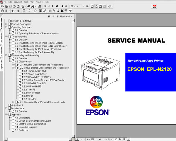 Epson EPL N2120 Printer<br> Service Manual and Parts List