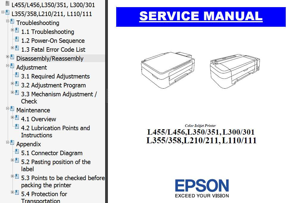 Epson <b>L455, L466, L110, L111, L210, L211, L300, L301, L350, L351, L355, L358</b> printers Service Manual  <font color=red>New!</font>