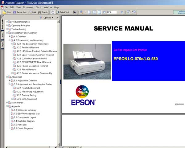 Epson LQ-570e, LQ-580 Printers<br> Service Manual and Parts list