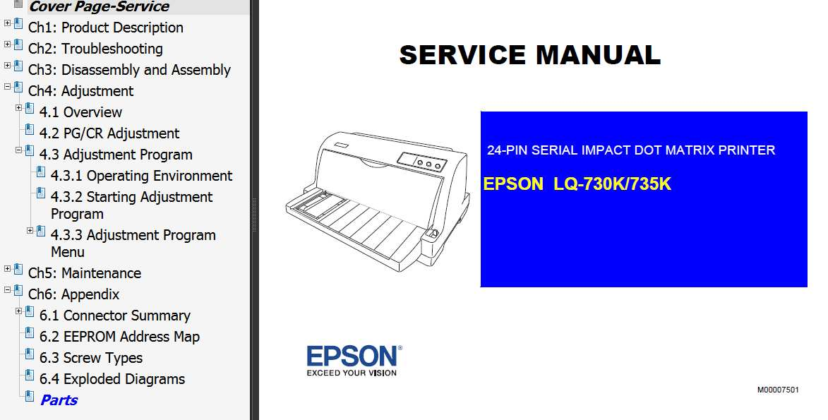 Epson LQ730K, LQ735K Printer Service Manual and LQ-730K, LQ-735K Parts List