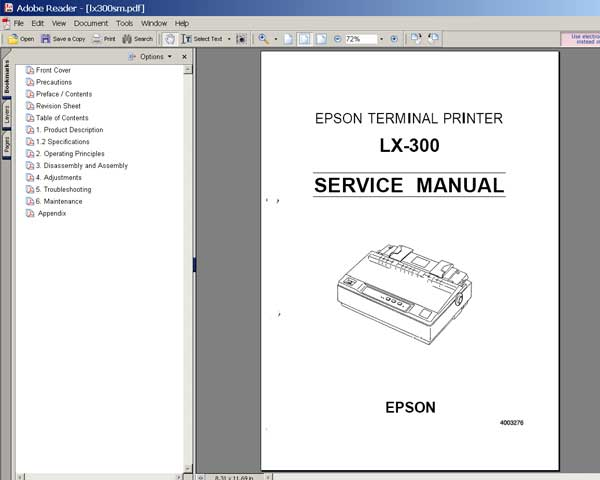Epson Lx-300 Printer Service Manual