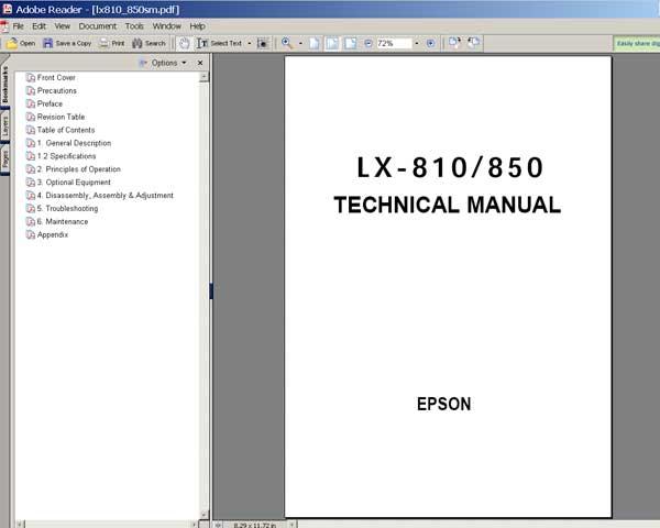 epson lx 810 lx 850 printers service manual service manuals rh 2manuals com epson lx-810 service manual epson lx-810 service manual