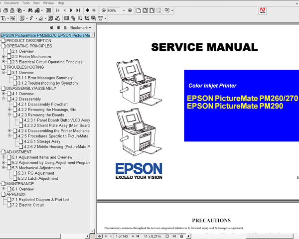 Epson PictureMate PM260, PM270, PM290 printers Service Manual and Electric Circuit Diagram