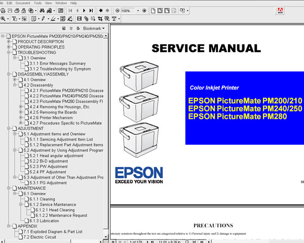 Epson PictureMate PM200, PM210, PM240, PM250, PM280 printers Service Manual and Parts List <font color=red>New!</font>