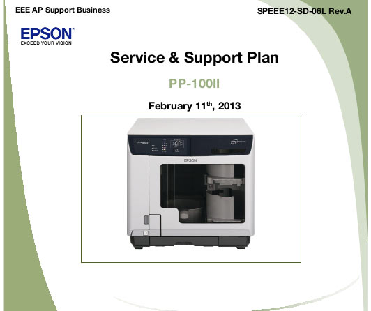 Epson PP-100II Service and Support Plan plus Parts List